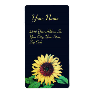 SUNFLOWER Rustic Wedding Summer Party Shipping Label
