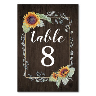 Sunflower Rustic Wedding Table Number Cards
