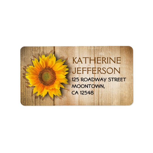 SUNFLOWER RUSTIC WOOD ADDRESS LABELS