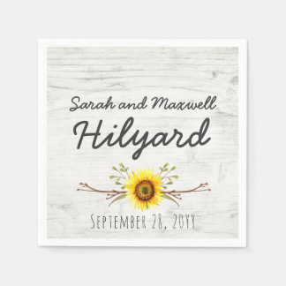 Sunflower & Rustic Wood Farm Country Wedding Disposable Napkins