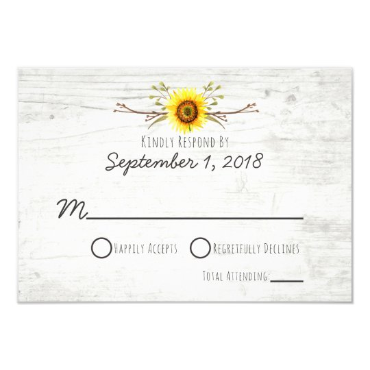 Sunflower Rustic Wood Farm Wedding Invitation RSVP