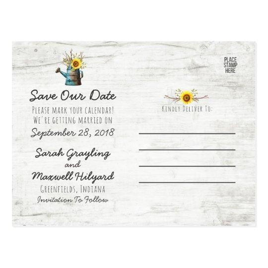 Sunflower & Rustic Wood Farm Wedding Save The Date Postcard