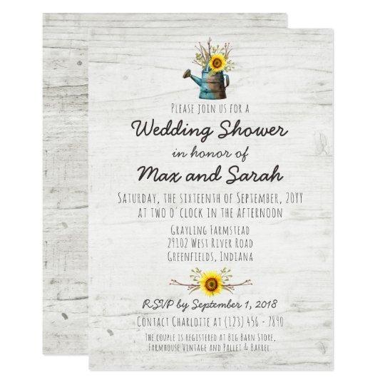 Sunflower & Rustic Wood Farm Wedding Shower Invite