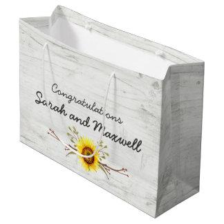 Sunflower & Rustic Wood Wedding Congratulations Large Gift Bag
