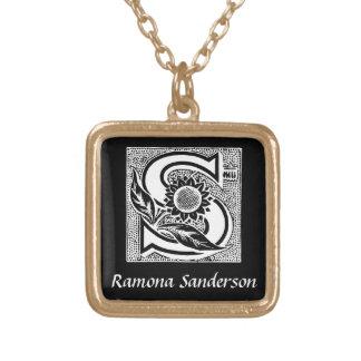 Sunflower S Monogram Initial Personalized Square Pendant Necklace