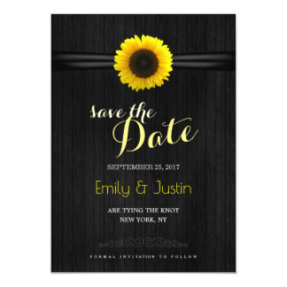Sunflower save the date card magnetic invitations