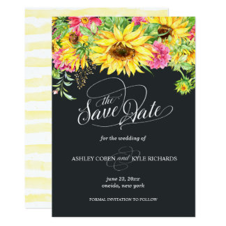 Sunflower Save the Date Card on a dark background