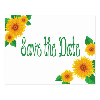 Sunflower Save The Date Wedding Floral Postcard