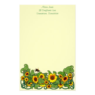 Sunflower Scroll Personalised Stationery