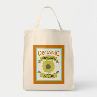 Sunflower Seed Packet Grocery Tote Canvas Bags