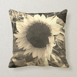 Sunflower Sepia Bloom Pillow
