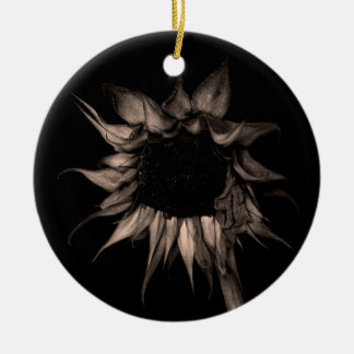 Sunflower - Sepia Fine Art Photograph Unique Cool Ceramic Ornament
