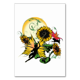 Sunflower Shadow Fairy and Cosmic Cat Card
