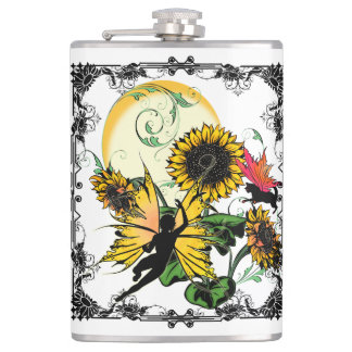 Sunflower Shadow Fairy and Cosmic Cat Hip Flask