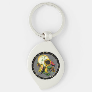 Sunflower Shadow Fairy and Cosmic Cat Key Ring