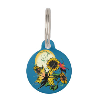 Sunflower Shadow Fairy and Cosmic Cat Pet Tag