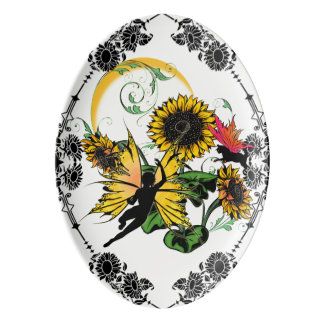 Sunflower Shadow Fairy and Cosmic Cat Porcelain Serving Platter