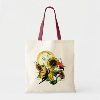 Sunflower Shadow Fairy and Cosmic Cat Tote Bag
