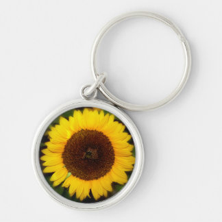 sunflower Silver-Colored round key ring