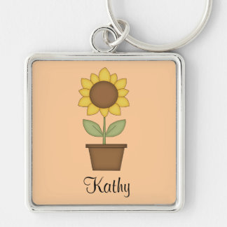 Sunflower Silver-Colored Square Key Ring