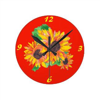 Sunflower Splash Wall Clock