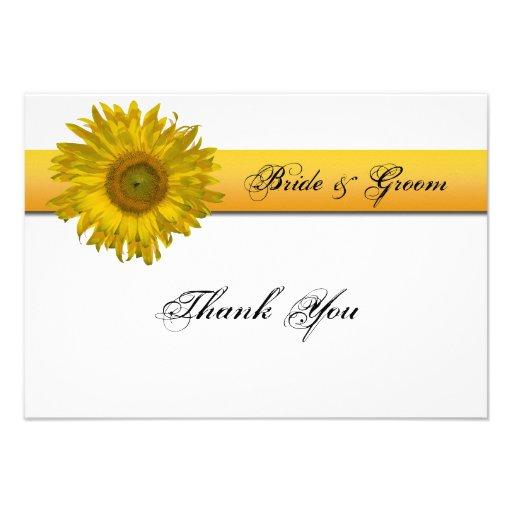 Sunflower Stripe Wedding Thank You Notes - Flat Custom Invitation