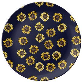 Sunflower summer sunshine porcelain plates