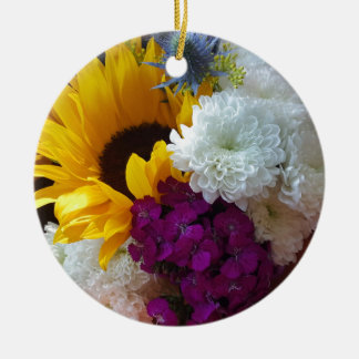 Sunflower Surprise Ceramic Ornament