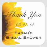 Sunflower Thank You Message Bridal Shower Square Stickers