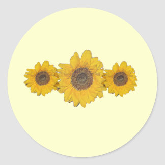 sunflower trio classic round sticker