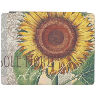 Sunflower Vintage Damask Wallpaper Collage iPad Cover