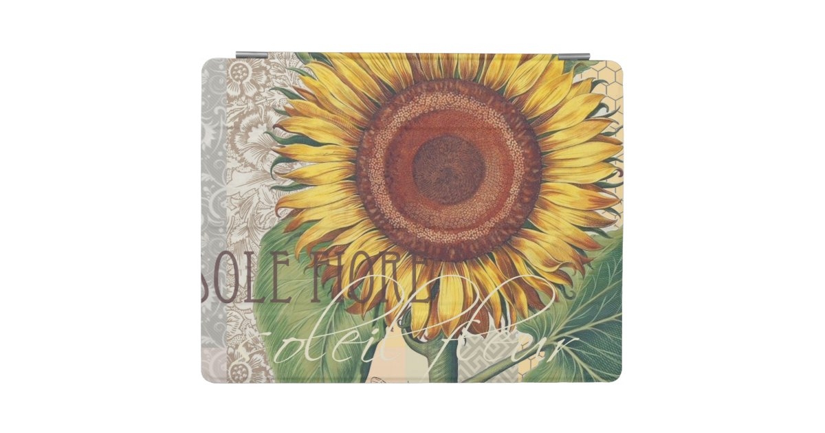 Sunflower Vintage Damask Wallpaper Collage iPad Cover | Zazzle