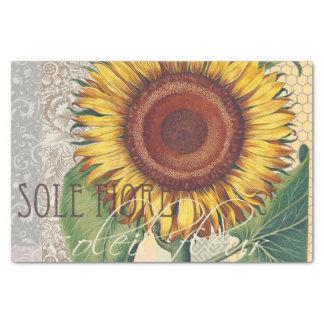 Sunflower Vintage Damask Wallpaper Collage Tissue Paper