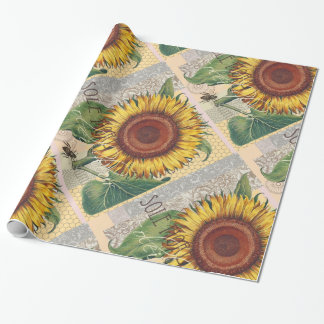 Sunflower Vintage Damask Wallpaper Collage Wrapping Paper