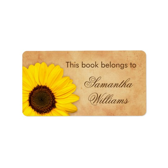 Sunflower vintage stained old paper bookplates address label