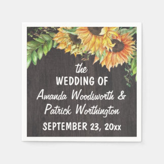 Sunflower Watercolor Country Rustic Wedding Paper Serviettes