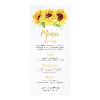 Sunflower Watercolor Floral Wedding Menu