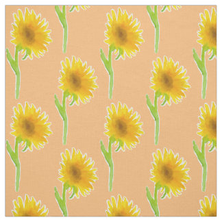 Sunflower Watercolor Orange Floral Fabric