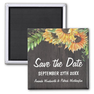 Sunflower Watercolor Rustic Country Save the Date Square Magnet