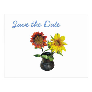 Sunflower Wedding Day Theme Save the Date Postcard