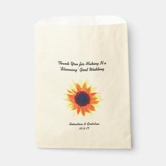 Sunflower Wedding Favor (Favour) Watercolour Favour Bags