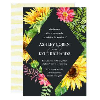 Sunflower wedding in yellow with dark background card
