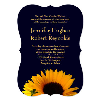 Sunflower Wedding Invitation (Navy Blue)