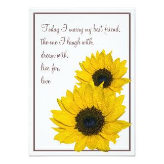 "Sunflower Wedding Invitation White Brown Yellow 5"" X 7"" Invitation Card"