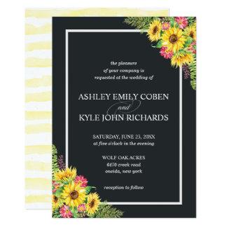 Sunflower wedding invitation with dark background