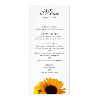Sunflower Wedding Menu