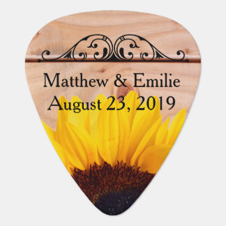 Sunflower Wedding Personalized Photo Guitar Pick