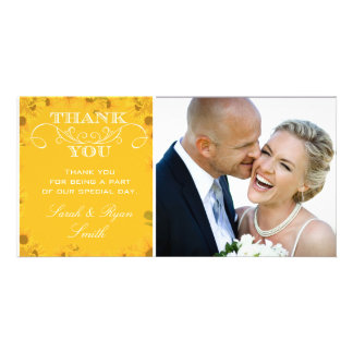 Sunflower Wedding Photo Thank You Cards Picture Card