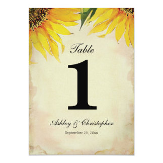 Sunflower Wedding Reception Table Number One
