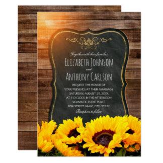 Sunflower wedding rustic vintage wooden chalkboard card